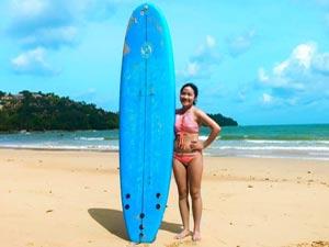 Girl With Surfboard Bang Tao Beach